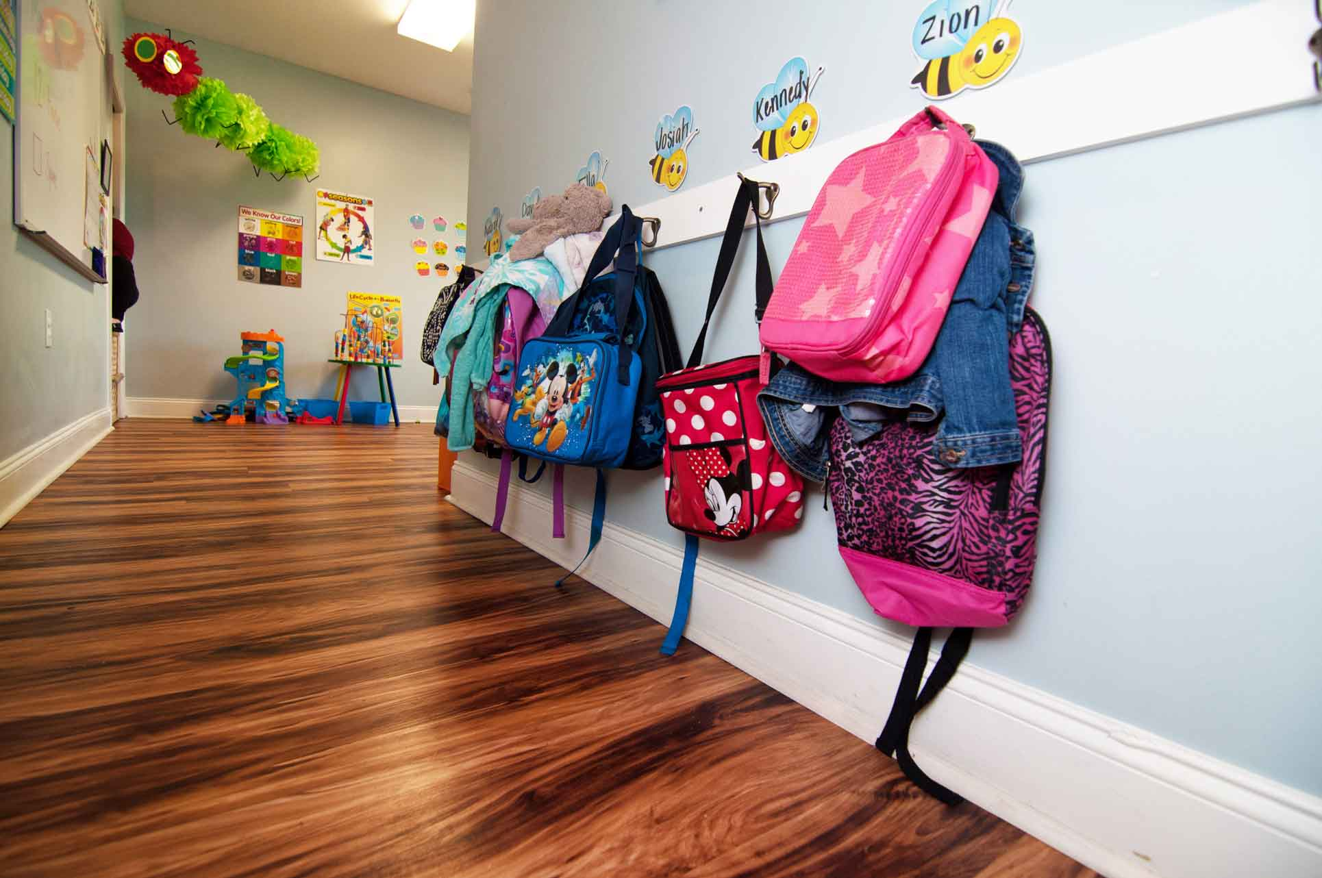 Bookbags-Hanging-on-Wall-at-Faith-Christian-Academy-in-McCleansville-NC