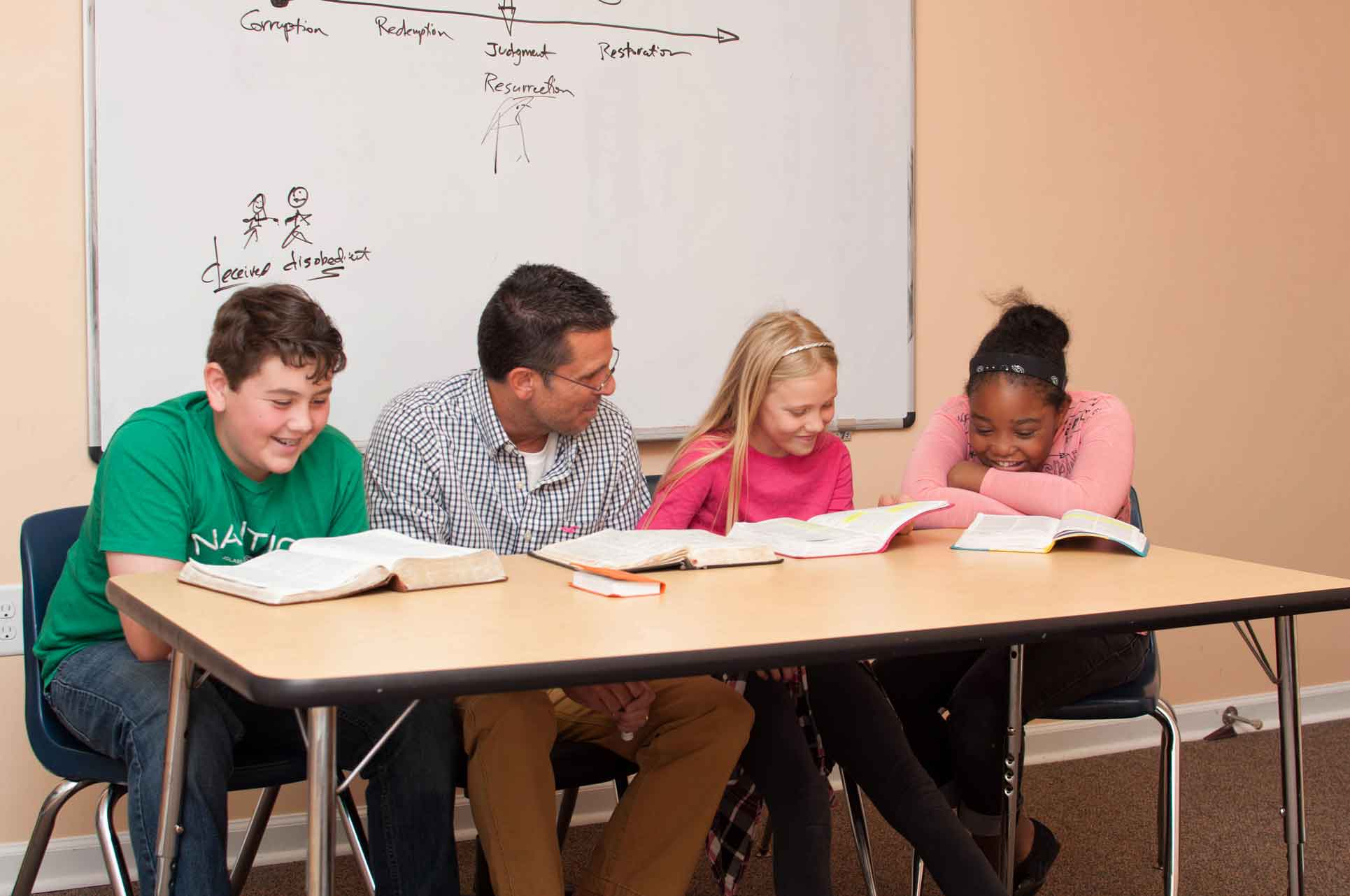Christian-High-School-Students-Smiling-with-Teacher