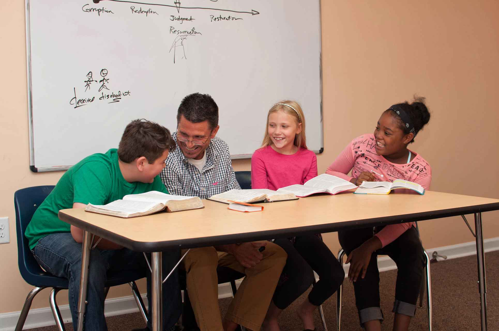 Private-Christian-Elementary-School-between-Burlington-and-Greensboro-NC-Students-Laughing-with-Teacher