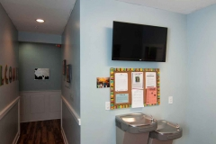 Hallway-with-Water-Fountain-and-Television-at-Faith-Christian-Academy-in-McCleansville-NC